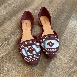 Oxblood Flats with Tribal Embroidered Detail